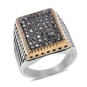 Grey Austrian Crystal Black Oxidized, Ring